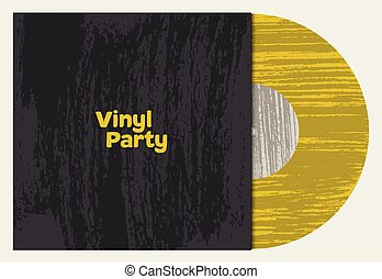estilo, grunge, illustration., vindima, vetorial, música, vinil, sleeve., typographical, partido, poster., disco, retro