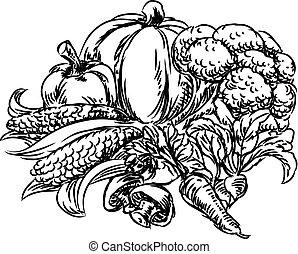 estilo, grunge, legumes, mão, desenhado, ícone