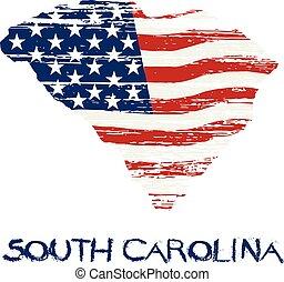 estilo, grunge, map., bandeira, americano, vetorial, carolina sul
