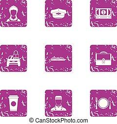 estilo, grunge, trabajando, iconos, conjunto, clase