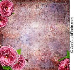 estilo, grunge, vendimia, marco, (1, set), vidrio, plano de fondo, álbum de recortes, flores