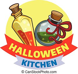 estilo, halloween, caricatura, logotipo, cocina