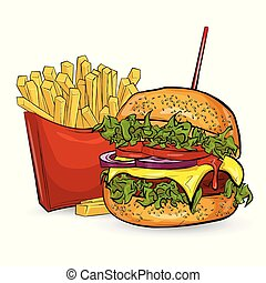 estilo, hamburguesas, tres, fondo., bosquejo, blanco