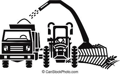 estilo, harvester, simples, equipamento, ícone, trator