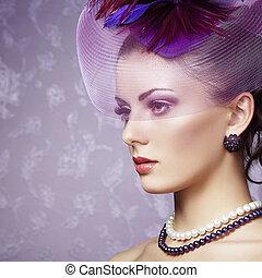 estilo, hermoso, retrato, woman., retro, vendimia