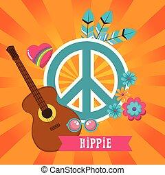 estilo, hippie, fundo, retro