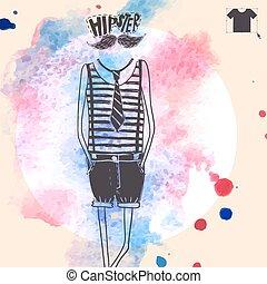 estilo, hipster, retro, fundo