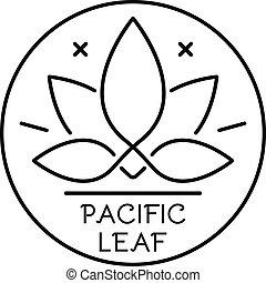 estilo, hoja, contorno, pacífico, cannabis, logotipo