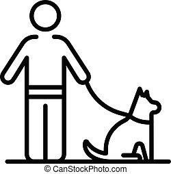estilo, hombre, icono de perro, ambulante, contorno