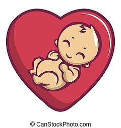 estilo, icono, caricatura, amor, bebé