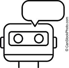 estilo, icono, chatbot, contorno