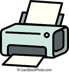 estilo, icono, contorno, impresora láser