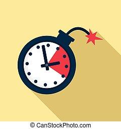 estilo, icono de la bomba, fecha tope, tiempo, plano