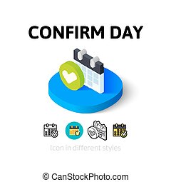 estilo, icono, diferente, día, confirmar