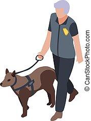 estilo, icono, perro, isométrico, policía