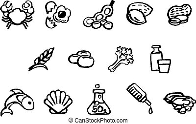 estilo, iconos, alimento, acuarela, seguridad, cepillo, tinta