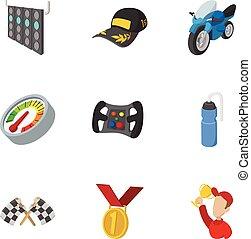 estilo, iconos, conjunto, accesorios, carreras, caricatura