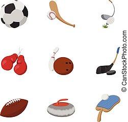 estilo, iconos, conjunto, accesorios, deportes, caricatura