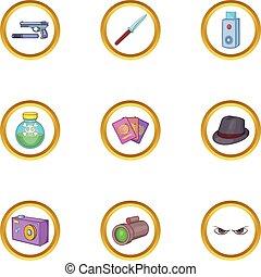 estilo, iconos, conjunto, arma, secreto, caricatura