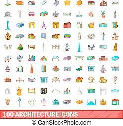 estilo, iconos, conjunto, arquitectura, 100, caricatura