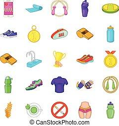 estilo, iconos, conjunto, arriba, cheque, caricatura