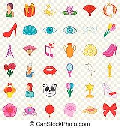estilo, iconos, conjunto, componer, caricatura