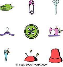 estilo, iconos, conjunto, costura, caricatura, ropa