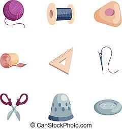 estilo, iconos, conjunto, costura, herramientas, caricatura