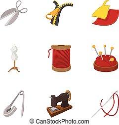 estilo, iconos, conjunto, costura, herramientas, caricatura, vestidos