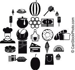 estilo, iconos, conjunto, ejecutivo, chef, simple