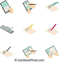 estilo, iconos, conjunto, firma, digital, caricatura