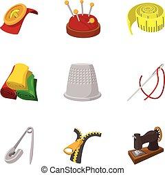 estilo, iconos, conjunto, fuentes de costura, caricatura