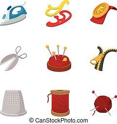 estilo, iconos, conjunto, kit, bordado, caricatura