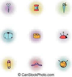 estilo, iconos, conjunto, kit, bordado, pop-art