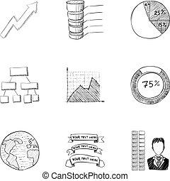 estilo, iconos, conjunto, mercadotecnia, mano, dibujado