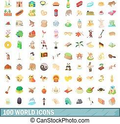 estilo, iconos, conjunto, mundo, 100, caricatura