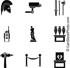 estilo, iconos, conjunto, museo, simple, yendo