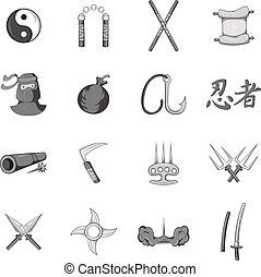 estilo, iconos, conjunto, negro, ninja, monocromo