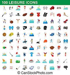 estilo, iconos, conjunto, ocio, 100, caricatura