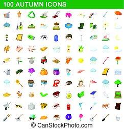 estilo, iconos, conjunto, otoño, 100, caricatura