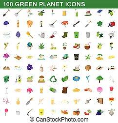 estilo, iconos, conjunto, planeta, verde, 100, caricatura