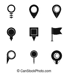 estilo, iconos, conjunto, posicionar global, simple