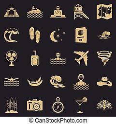 estilo, iconos, conjunto, resto, océano, simple