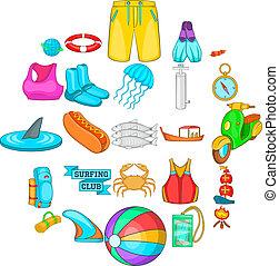 estilo, iconos, conjunto, ropa, caricatura, natación