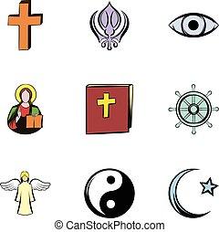 estilo, iconos, Conjunto, símbolo,  religión, caricatura