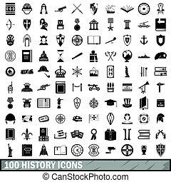 estilo, iconos, conjunto, simple, 100, historia