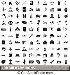 estilo, iconos, conjunto, simple, militar, 100