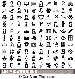 estilo, iconos, conjunto, simple, partera , 100
