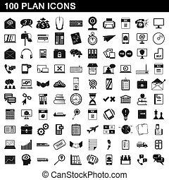 estilo, iconos, conjunto, simple, plan, 100
