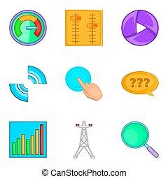 estilo, iconos, conjunto, sistema, ingeniería, caricatura